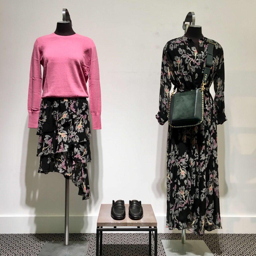 isabel marant printed dress, skirt, bag, shoes and jumper