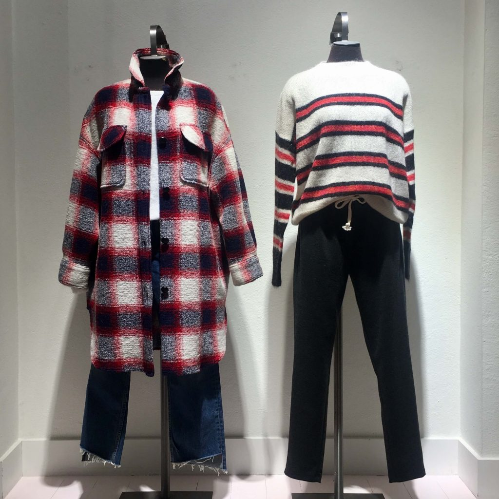isabel marant striped jumper and checked overshirt