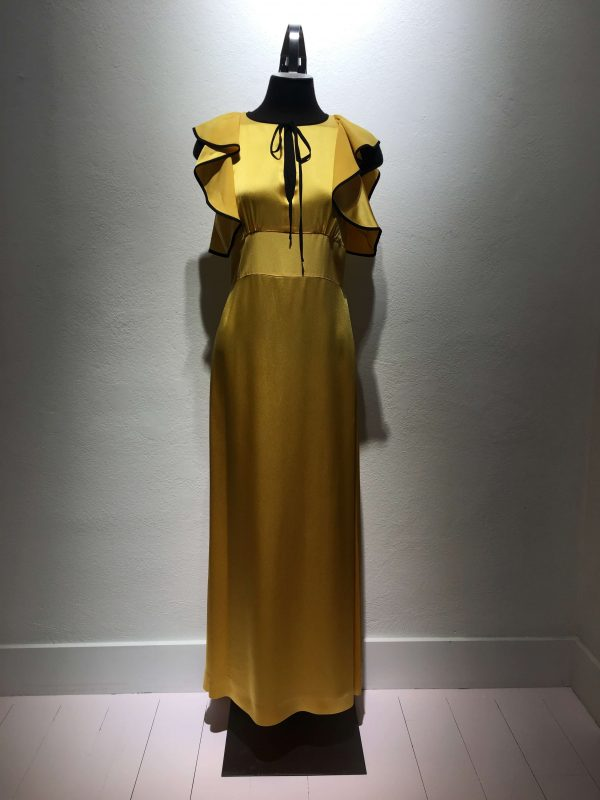 The Alexa Chung maxi dress in yellow with black lining