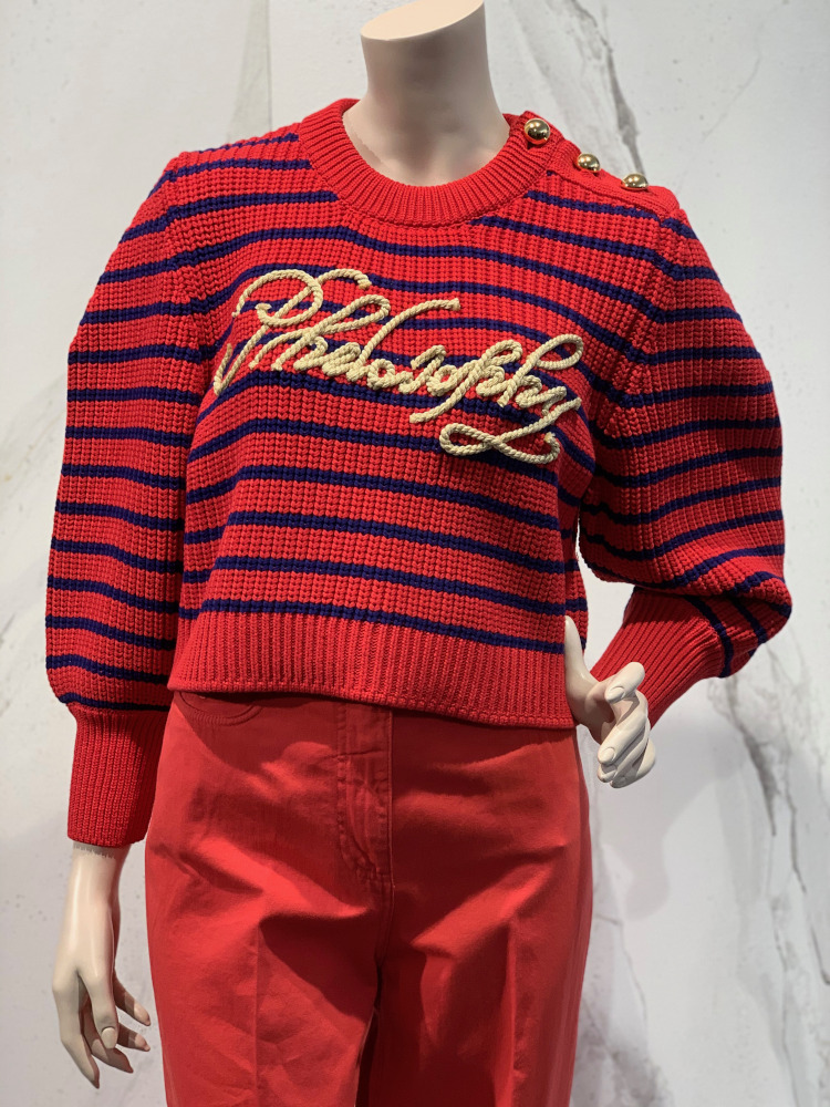 Philosophy striped logo pull red